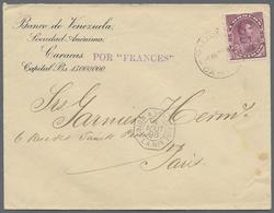 """Beleg 1898, 8.8., Colon A. St. Nazaire/L.A. No. 1 (frz. Schiffspost-8eck-K2) A. Bf. Ab Caracas, M. Viol. L1 Por """"Frances - Stamps"""