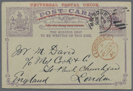 Beleg 1893, 1 1/2 P. UPU-Ueberdruck A. 2 P. Victoria, Kab.Bedarfskarte Von Melbourne Nach London (Michel: 12a) - Stamps