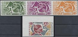 ** 1974,1.20 F. 100 J. UPU Ungez.Eckrandstueck U. 3 Verschiedene Farbproben Im 3er-Streifen (Michel: 263 U, 263 P(3)) - Stamps