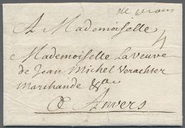 """Beleg 1715, De Mons (hs.), Kaufmanns-Bf. M. """"4"""" Sols Taxe N. Antwerpen - Stamps"""