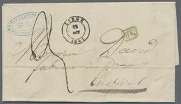 "Beleg 1847, LIEGE, Roter U. Schwarzer K 2 Je Auf Taxbf, Mit Gruenem Ra 1 ""SR"" Nach Francomont. - Stamps"