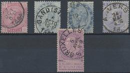 Gest. 1883/93, Freimarken Leopold II 5-25 C. U.  2 F., 5 Pra.stuecke (Michel: 35-38,59) - Stamps