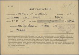 Beleg 1948, 23.10., Aus Bruessel , Antwortschein Vordruck (rs. Auf Deutsche Post Telegrammfomular) , Ausgefertigt Berlin - Stamps