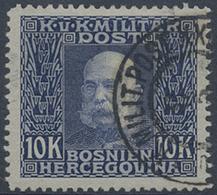 Gest. 1912, K U K Militaerpost, 10 K. Kaiserkopf, Sauber Gest. Kab.stueck, Mi. 170.- (Michel: 84) - Stamps
