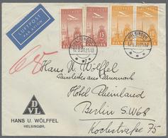 Beleg 1938, Flugpostmarken 2x 10 Oere + 2x 15 Oere Als MiF Sowie 50 Oere Als EF Je Auf Brief Von Helsingoer Nach Deutsch - Stamps