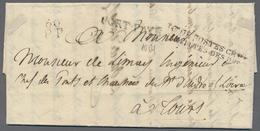 """Beleg 1827 """"BAU DE POSTES CHBRE/ DES DEPUTES DES DEPTS"""", Roter L2 Sowie Roter L2 """"60 PP"""" Und Schwarze L1 PORT-PAYS Auf K - Stamps"""