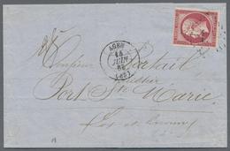Beleg 1863, 80 C. Napoleon III Vollr. Pra.stueck Auf Kompl. Faltbrief Mit Inhalt(Rechnung) Von Agen Nach Port St.Marie ( - Stamps