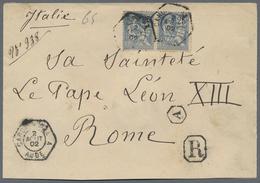 Beleg 1902, 2x 25 C. Auf R-Brief Aus Carcasonne An Seine Heiligkeit Papst LEON XIII In Rom (Michel: 105(2)) - Stamps