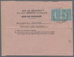 Beleg 1931, Saeerin, 50 (C) Blau Als MeF Auf Rosa Rueckschein (Form.-Nr. 514) , N. MONT DE MARSAN R.P. (Michel: 143 (2)) - Stamps
