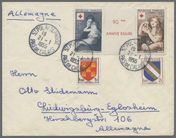 Beleg 1955, 12 U.15 F. Rot Kreuz Im Zwischenstegpaar (Bugspur Senkr. Durch ZS)auf Brief Mit ZuF Nach Deutschland (Michel - Stamps