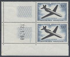 ** 1957, 500 F. Caravelle Im  Postfrischen Senkr. Li. Unteren Eckrandpaar Mit 2 Leerfeldern Und Druckdatum 12.1.59 (Mich - Stamps