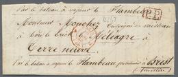 "Beleg 1848, 19. 4., Paris, Roter K2 Auf P.P.-Brief Mit Rs. Hs. Taxe ""10"" Decimen Nach Terre Neuve An Einen Enseigne De V - Stamps"