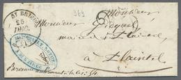 """Beleg 1850, 25.12., St. Brieuc, Kpl. Taxbrief Mit Taxstpl. """"25"""" Nach Plaintel, Rs. Durchgangsstpl. Quintin (Typ 13), Vs. - Stamps"""
