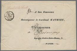 "Beleg 1861, 23.12., ""L Paris L"" K2 (Type 1526) A. Vordruck-Bf An Seine Eminenz Cardinal Mathieu M. Vs Rotem L1 ""Presiden - Stamps"