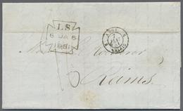 Beleg 1846/51, London, 2 Transit-Portobriefe Mit ANGL 2 BOULOGNE, Roter K2 Sowie ANGL 2 CALAIS, Schwarzer K2 Und Hs. Tax - Stamps