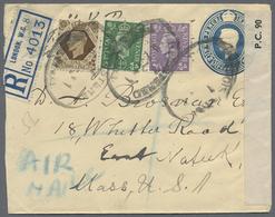 Beleg 1941, 1 Sh Georg, 1/2 P Und 3 P Als Zusatzfrank. Auf 2 1/2 P GSU Als Lp-R-Brief Von London Mit Zensur Nach New Yor - Stamps