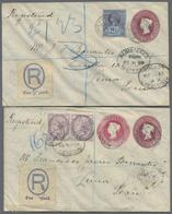 Beleg 1898, 2 Verschiedene Pra.-Privat-GA-Umschlaege 2 P. Weinrot Und 3 Neben 2 P. Jeweils Mit ZuF Als R-Briefe Von Engl - Stamps