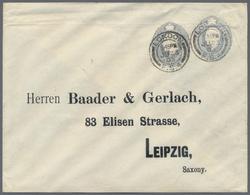 Beleg 1903, Privat-GSU Mit 2 Wertstpl. 2 1/2 P Eduard Ab London Mit Adress-Eindruck Baader&Gerlach (Stoffhandschuhfabrik - Stamps