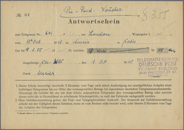 1948, 13.10., Aus London , Antwortschein Vordruck (rs. Auf Deutsche Post Telegrammfomular) , Ausgefertigt Berlin , Mit V - Stamps