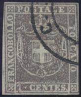 Gest. 1860, 1 C. Braeunl.lila 3seitig Vollr., Tiefsign. Pfenninger, Mi. 600.- (Michel: 17) - Stamps