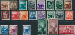 ** 1945, 10 C. -100 L. Freimarken Demokratie Kompl.postfrisch, 100 L. Herstellungsbedingter Papiereinschluss, Mi. 1000.- - Stamps