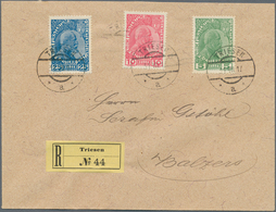 Beleg 1917, 5 H.-25 H. Fuerst Norm.Papier  Auf R-Brief Von Triesen Mit Letzttagstempel  Nach Balzers, (o.AST) (Michel: 1 - Stamps
