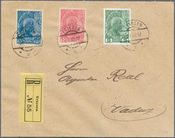 Beleg 1917, 5 H. Fuerst Gestr.Papier Und 10 U.25 H. Fuerst Norm.Papier Selt. MiF Auf R-Brief Von Triesen Nach Vaduz, (o. - Stamps
