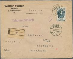 Beleg 1920, 7 1/2 K. Fuerst Auf Echt Gelaufenem R-Brief Von Triesen 18.11.29 Nach USA (Michel: 38) - Stamps