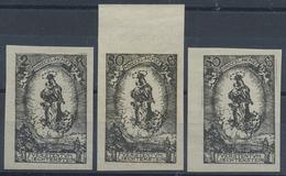 O. Gummi 1920, 50 H.- 2 K. Madonna , 3 Ungezaehnte Schwarzdrucke Ohne Gummi, Mi. 240.- (Michel: 40-42 S) - Stamps