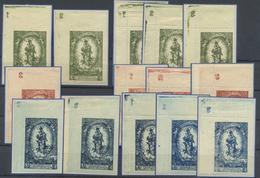 ** 1920, 50 H.- 2 K. Madonna,  5 Ungez. U. 9 Gez. Werte Vom Li.ob. Eckrand (Falz Am OR), Alle Mit Platten-Nummern Aus 1- - Stamps