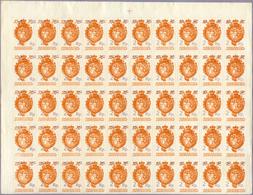 ** 1920, 2 Rp. A. 10 H. Duenner Aufdruck In 2 Postfrischen Bogenteilen Zu Je 50 Marken,mit PL.-Nr.4, Dabei Plattenfehler - Stamps