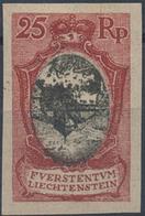 O. Gummi 1921, 25 Rp. Schloss Vaduz, Ungez. U. Ungummiert Mit Kopfstehendem Mittelstueck, Lt. FA Rupp Echt Und Einwandfr - Stamps