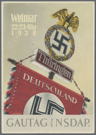 Beleg 1938, Gautag Der NSDAP Thueringen, Farbige Festpostkarte Mit St.Sudetenland - Stamps