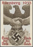 """Beleg 1933, Reichsparteitag Der NSDAP Nuernberg """"Einig Das Volk/Stark Das Reich"""", Farbige Festpostkarte Mit Entspr.Masch - Stamps"""