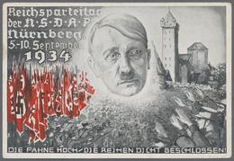 """Beleg 1934, Reichsparteitag Der NSDAP Nuernberg """"Die Fahne Hoch...."""", Karte Mit Entspr.Maschinenst. - Stamps"""