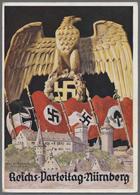 """Beleg 1936, Reichsparteitag Der NSDAP Nuernberg """"Reichsadler Ueber Burg.."""", Farbige Karte Mit Entspr.Maschinenst. - Stamps"""