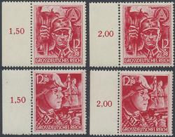 ** 1945, SA/SS, 2 Postfrische Randsaetze, Mi. 160.- (Michel: 909-10(2)) - Stamps