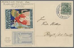 Beleg 1912, 5 Pf. Germania Auf Sonderkarte Zum Margareten-Volksfest In Leipzig Mit Entsprechendem SST, Aufgeklebter 50 P - Stamps