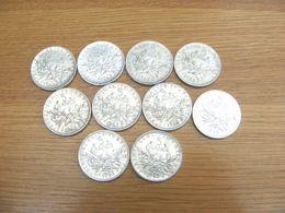 Lot De 10 Monnaies Françaises De 5 Francs En Argent - 1963 - En L'état, Non Nettoyées - - Francia