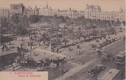 5 POSTAL DE BARCELONA DE LA PLAZA DE CATALUÑA DEL AÑO 1920 (L. ROISIN) CARRUAJE CONTINENTAL - Barcelona