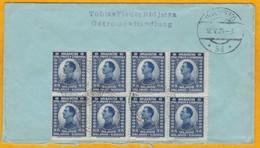1924 - Enveloppe De Serbie Vers Vienne, Autriche - Bloc De 8 Timbres à 25 - Cad Arrivée - Serbie