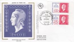 FRANCE - FDC SOIE - YvN° 2863-2864-  MARIANNE DE DULAC  - CACHET 1er JOUR JOURNEE DU TIMBRE 12.3.1994 PARIS  / 1 - 1990-1999