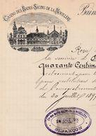 Facture 1898 / Casino Des Bains Salins De La Mouillère / 25 Besançon / Doubs - France
