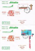 Aérophilatélie - 1er Vol Airbus A 300 (Alitalia) Rome - Paris Le 01 Juillet 80 - 2 Plis - Transportmiddelen