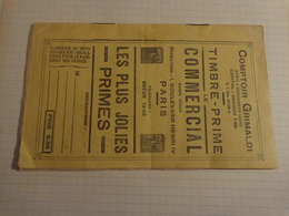 Timbre Prime LE COMMERCIAL  Avec 1 Planche De Timbres (coq) De Fidelite Comptoir Grimaldi Bd Henri IV Paris - Publicité