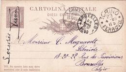 "EP Italie - Cachet Ambulant - 1889 - + Pub Dos ""Libreria Ermanno Loescher Di Carlo Clausen"" - 1878-00 Umberto I"