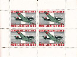 Compagnie Aviation 6 / Mobilisation 1939 / 2 Blocs De Quatre ** - Labels