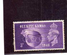 GREAT BRITAIN GRAN BRETAGNA 1948 KING GEOGE VI OLYMPIC GAMES HELD AT WEMBLEY  3p USATO USED OBLITERE' - Usati