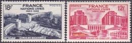 France N°  818 - 819 ** Assemblée Générale Des Nations Unies - Palais De CHAILLOT à PARIS - France