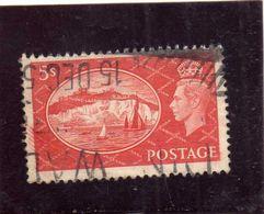GREAT BRITAIN GRAN BRETAGNA 1951 KING GEOGE VI WHITE CLIFFS DOVER BIANCHE SCOGLIERE 5sh USATO USED OBLITERE' - Usati